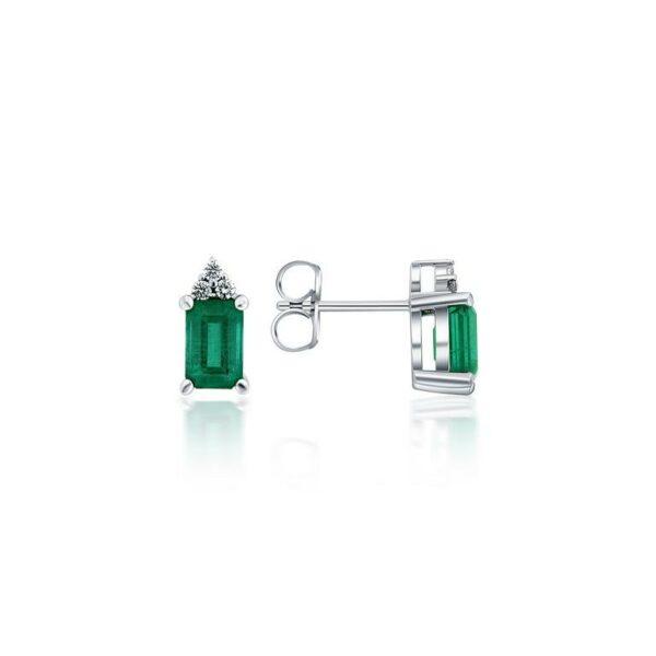 14k White Gold Emerald & Diamond Earrings