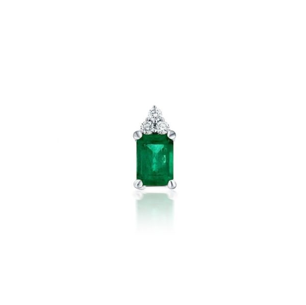 14k White Gold Emerald & Diamond Pendant