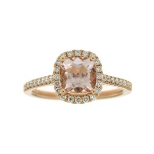 14k Rose Gold Morganite & Diamond Ring
