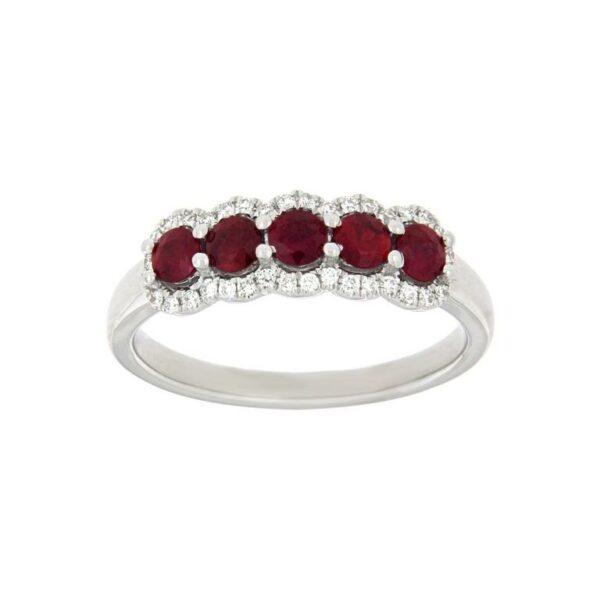 14k White Gold Ruby & Diamond Ring