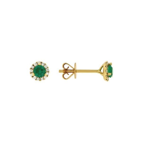 18k Yellow Gold Emerald & Diamond Earrings