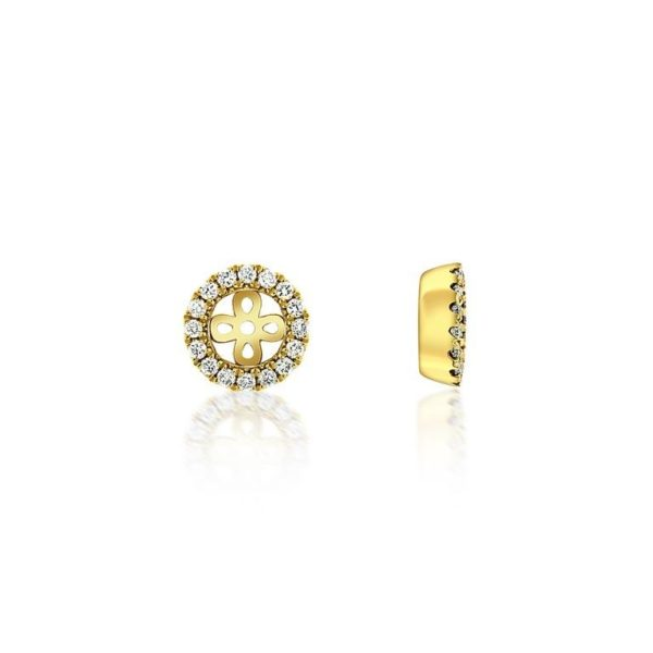 14k Yellow Gold Diamond Jacket for Studs