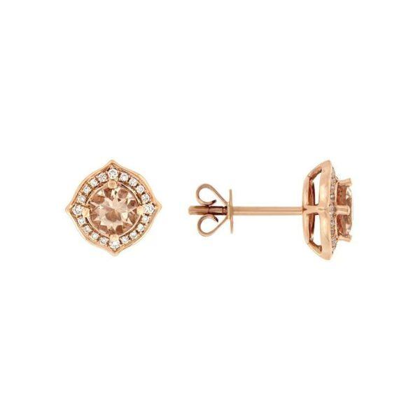 14k Rose Gold Morganite & Diamond Earrings