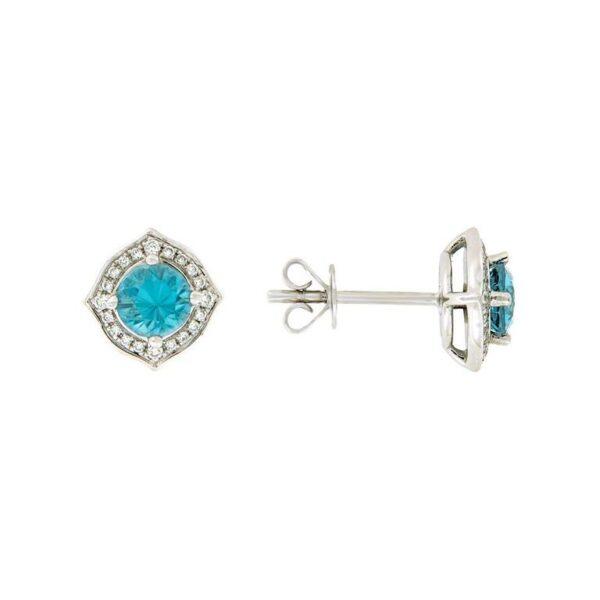 14k White Gold Zircon & Diamond Earrings