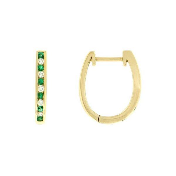 14k Yellow Gold Emerald & Diamond Earrings