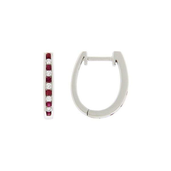 14k White Gold Ruby & Diamond Earrings