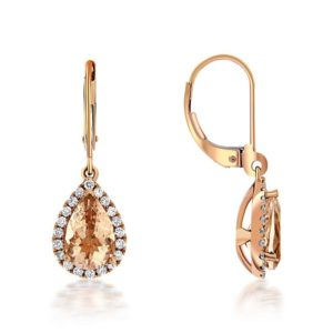 14k Rose Gold Morganite & Diamond Earrings
