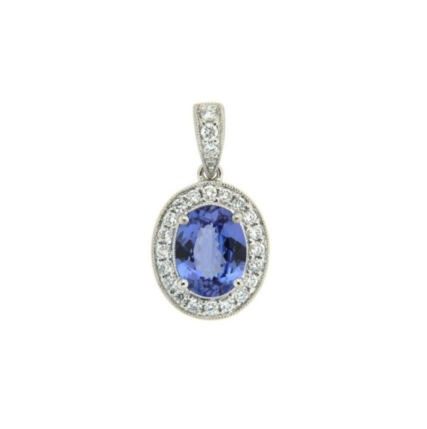 18k White Gold Tanzanite & Diamond Pendant