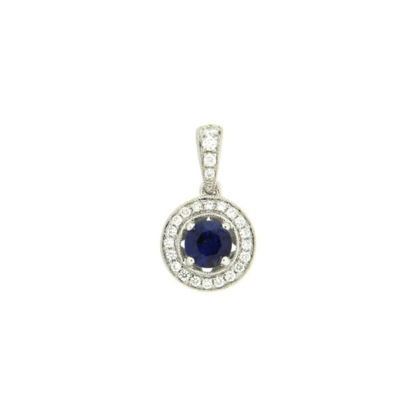 18k White Gold Sapphire & Diamond Pendant