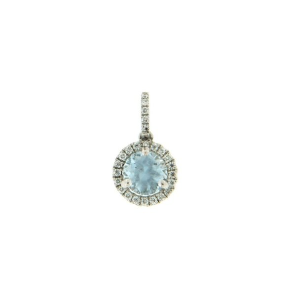 18k White Gold Aquamarine & Diamond Pendant