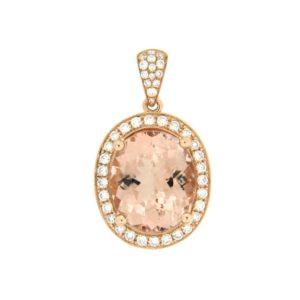 18k Rose Gold Morganite & Diamond Pendant