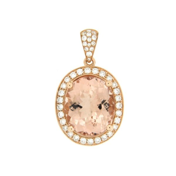 18k Rose Gold Morganite & Diamond Pendant