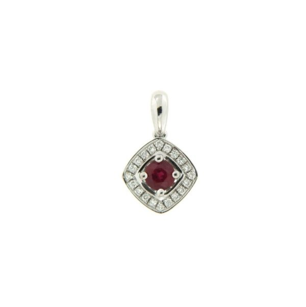 18k White Gold Ruby & Diamond Pendant