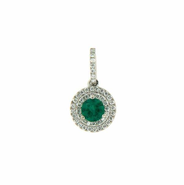 18k White Gold Emerald & Diamond Pendant