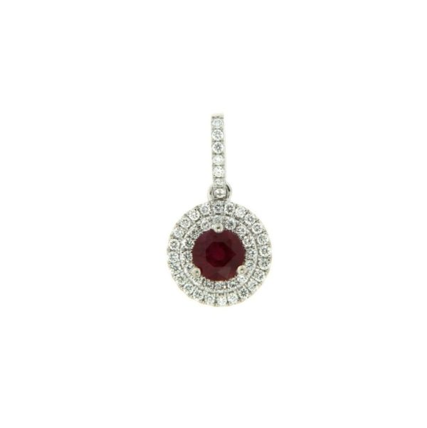 18k White Gold Ruby & Diamond Pendant