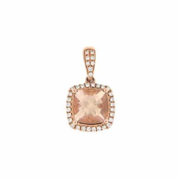 14k Rose Gold Diamond and Morganite Pendant