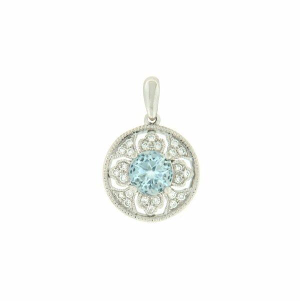 14k Rose Gold Aquamarine & Diamond Pendant