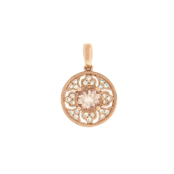 14k Rose Gold Morganite & Diamond Pendant