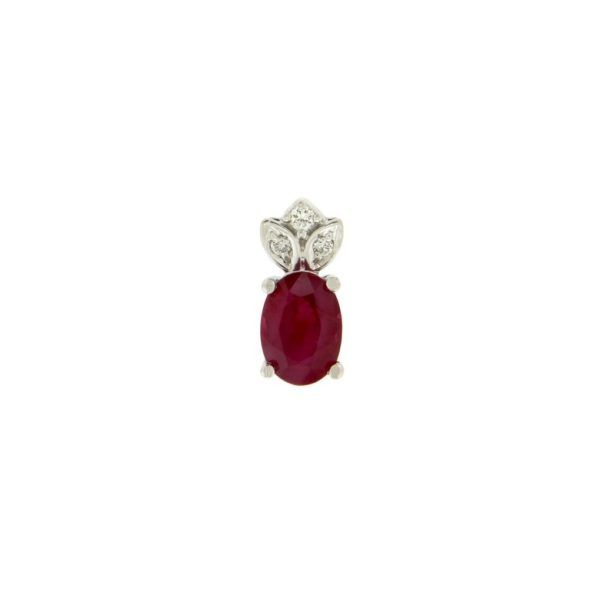 14k Rose Gold Ruby & Diamond Pendant