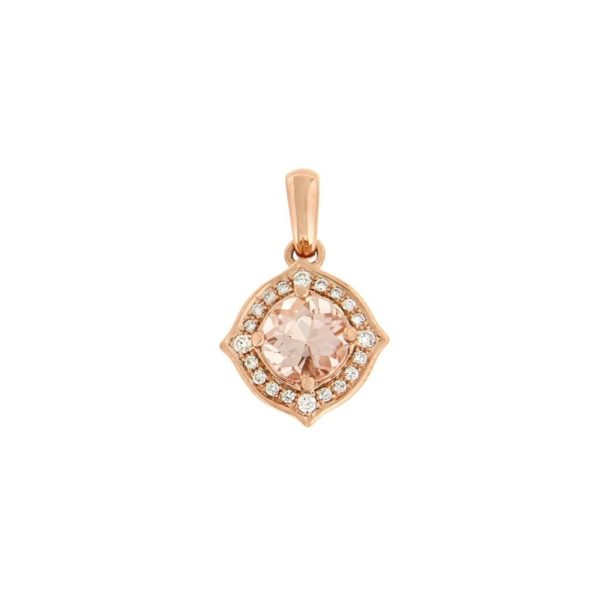 14k Rose Gold Morganite & Diamond Pendant