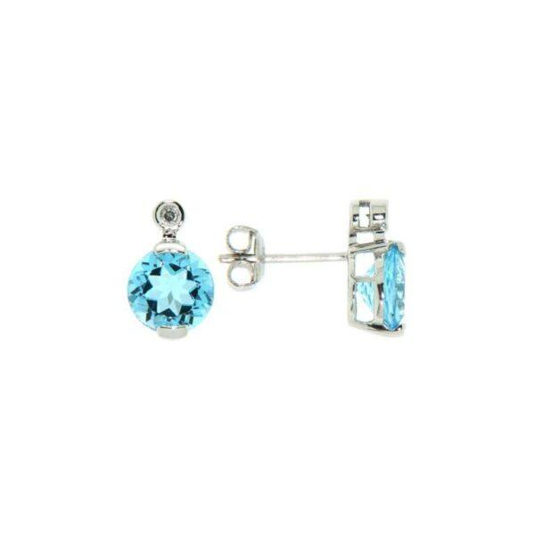 14k White Gold Topaz & Diamond Earrings
