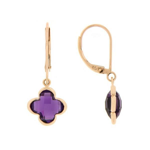 14k Rose Gold Amethyst Earrings
