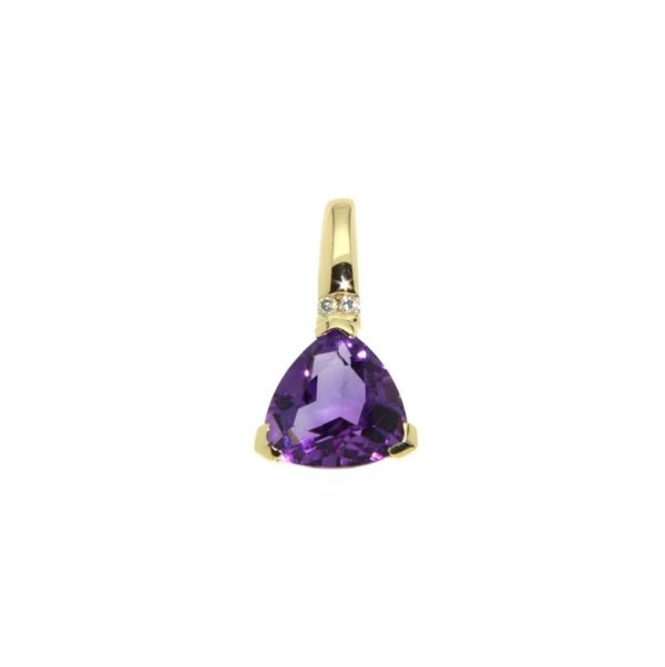 14k Yellow Gold Amethyst & Diamond Pendant