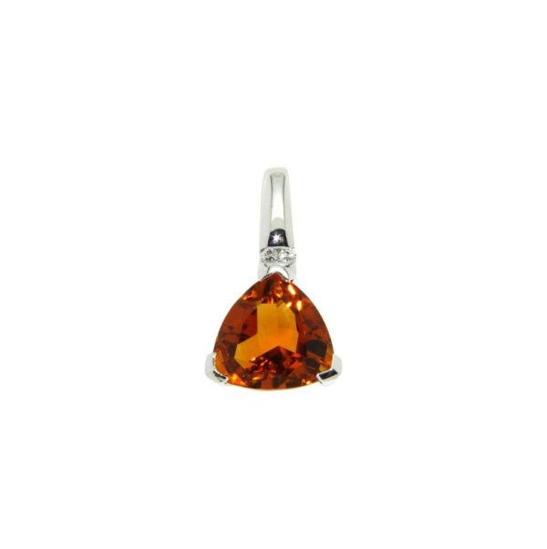 14k White Gold Citrine & Diamond Pendant