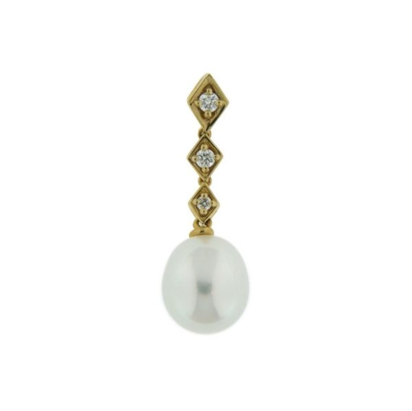 14k Yellow Gold Pearl & Diamond Pendant