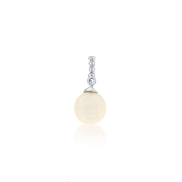 14k White Gold Pearl & Diamond Pendant