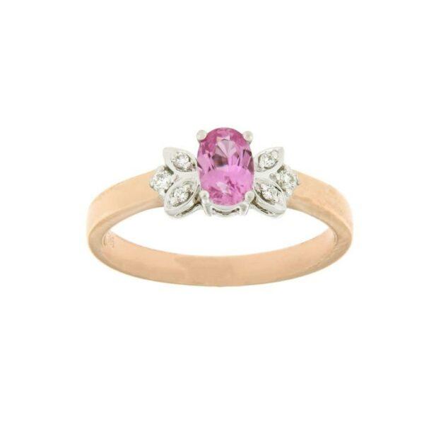 18k Rose Gold Sapphire & Diamond Ring